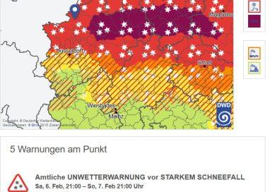 06.02.2021: Warnung vor starkem Schneefall